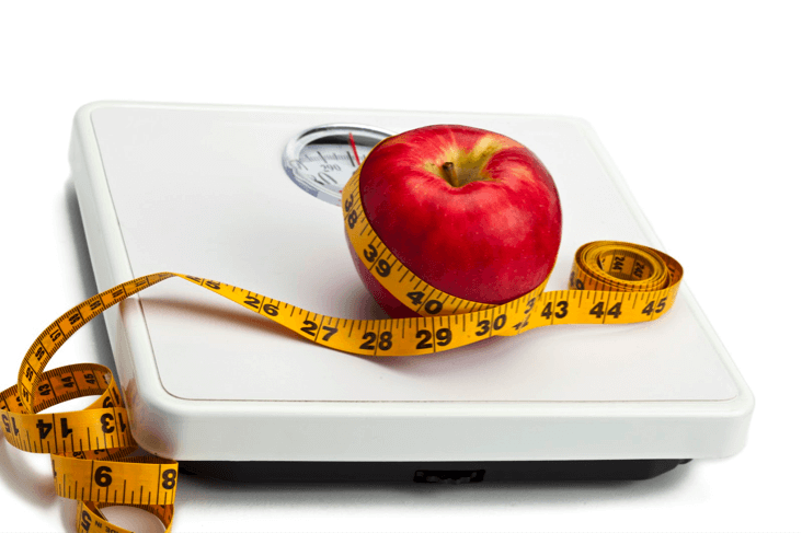 apple on scale