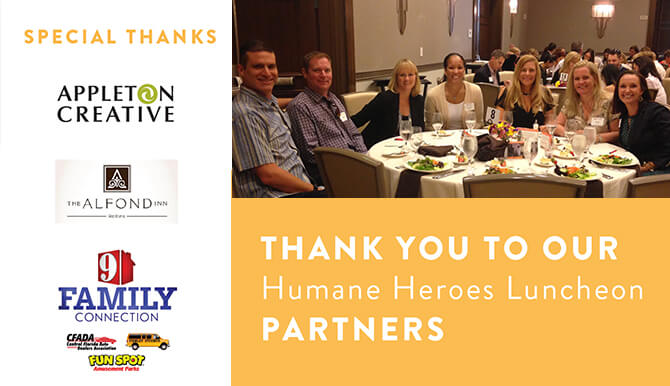 Thank you to our humane heroes luncheon partners