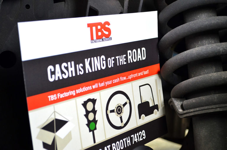 TBS Factoring Services portfolio poster, truck gear