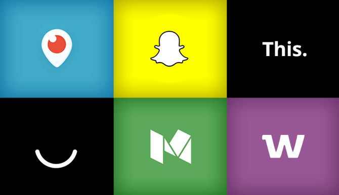 6 new social media platforms periscop, snapchat, this., ello, medium and whisper