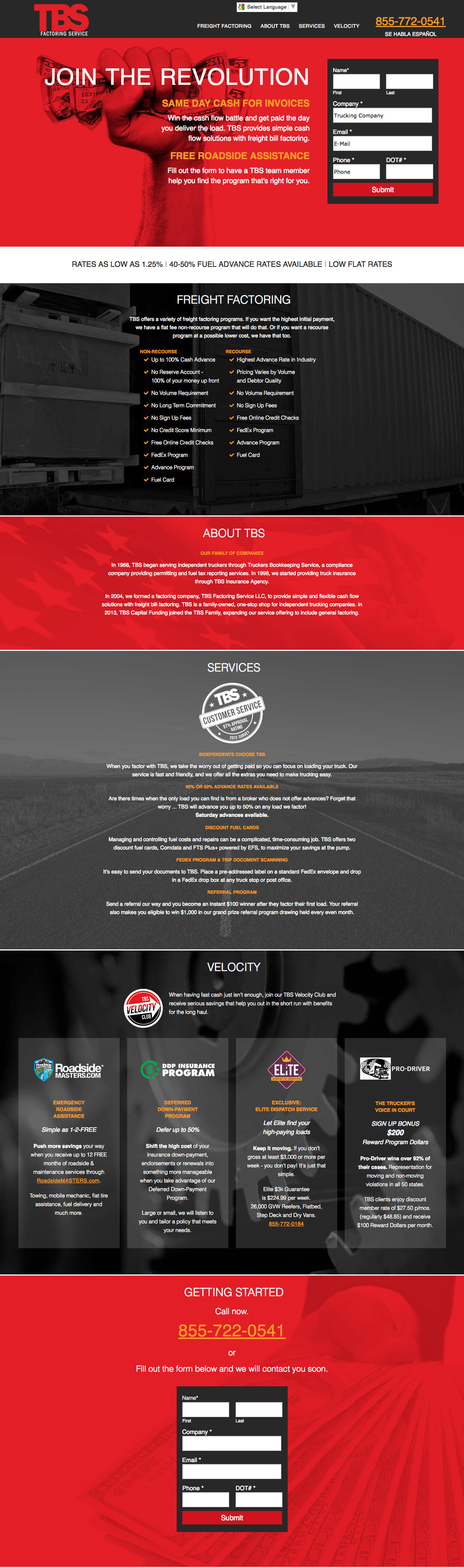 trucking landing page design example