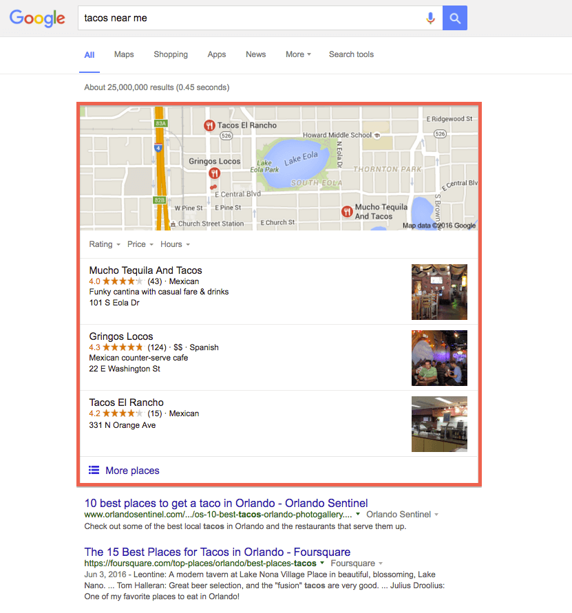 Google's new local 3-pack