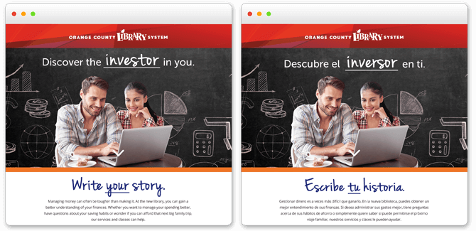 Orange County Library System landing pages