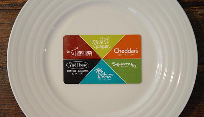 darden restaurants gift card design